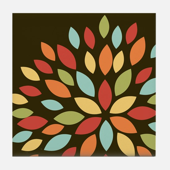 Cute Retro Colors Flower on Brown Tile Coaster