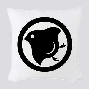 Plover in circle Woven Throw Pillow
