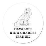 Cavalier King Charles Spaniel Round Car Magnet