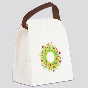 Spring Flower Wearth Canvas Lunch Bag