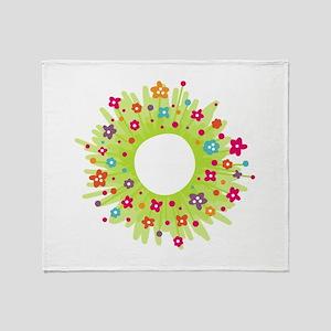 Spring Flower Wearth Throw Blanket