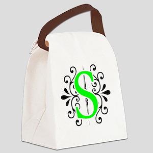MONOGRAM FLORESCENT GREEN & BLACK Canvas Lunch Bag
