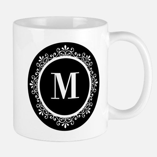 Black   White Scroll Monogram Mug