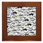 Swim in Dolphins Pattern B Framed Tile