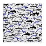 Swim in Dolphins Pattern B Tile Coaster