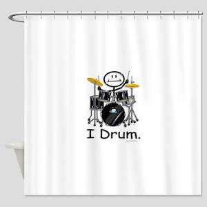Stick Figure Drums Shower Curtain