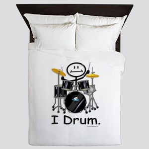 Stick Figure Drums Queen Duvet