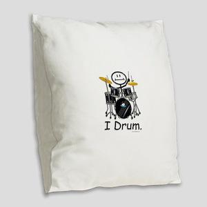 Stick Figure Drums Burlap Throw Pillow