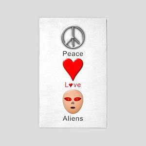 Peace Love Aliens 3'x5' Area Rug