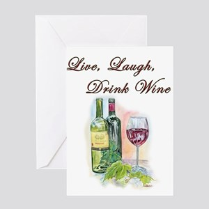 Live Laugh Wine Greeting Cards