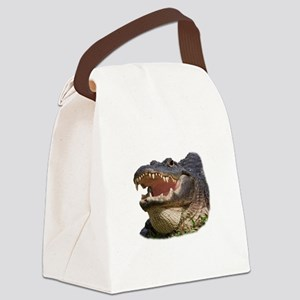 alligator with teeth showing Canvas Lunch Bag