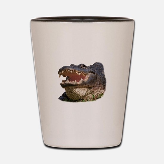 alligator with teeth showing Shot Glass