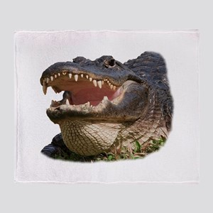 alligator with teeth showing Throw Blanket