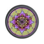 Pink And Purple Floral Wall Clock