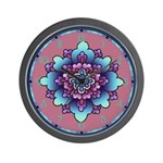 Blue And Purple Floral Wall Clock