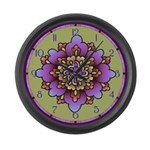 Pink And Purple Floral Large Wall Clock