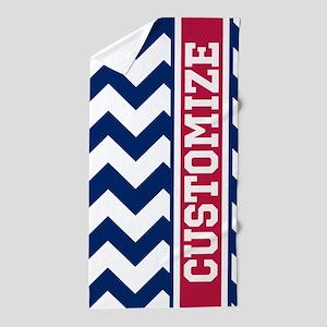 Customized Red White Blue Chevron Pattern Beach To