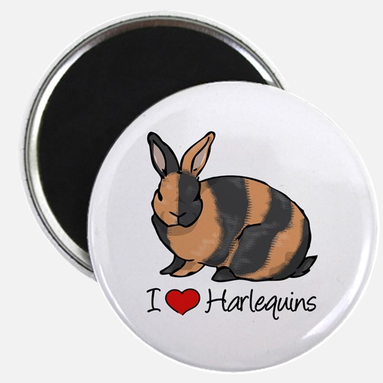 I Heart Harlequin Rabbits Magnets