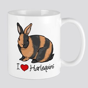 I Heart Harlequin Rabbits Mugs