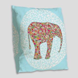 Elephant Circle #2 Burlap Throw Pillow