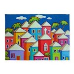 Colorful Tropical Village Cat 5'x7'area Rug