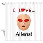 I Love Aliens Shower Curtain