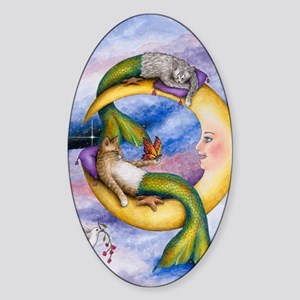 cat mermaid 29 Sticker (Oval)