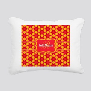 Red Yellow Monogrammed P Rectangular Canvas Pillow