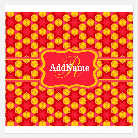 Red Yellow Monogrammed Patt 5.25 x 5.25 Flat Cards