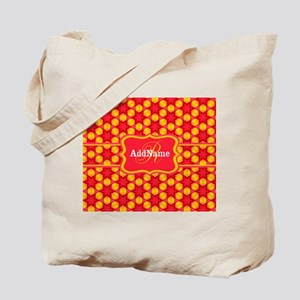 Red Yellow Monogrammed Pattern Tote Bag