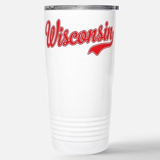 Wisconsin Script Font Travel Mug