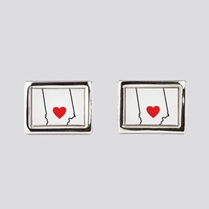 I Heart Indiana State Outline Rectangular Cufflink
