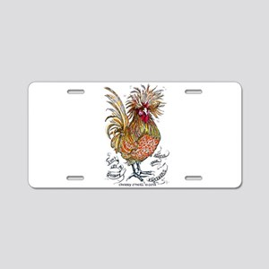 Chicken Feathers Aluminum License Plate