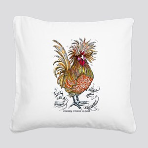 Chicken Feathers Square Canvas Pillow