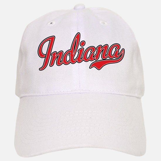 Indiana Script Font Red Baseball Baseball Baseball Cap