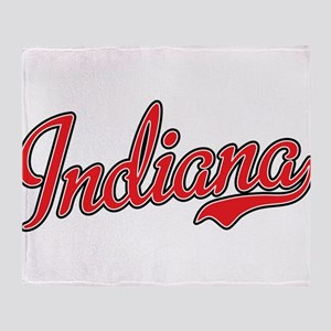 Indiana Script Font Red Throw Blanket