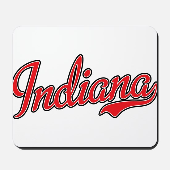 Indiana Script Font Red Mousepad