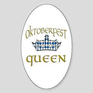 Oktoberfest Queen Crown Sticker (Oval)