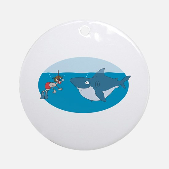 Funny Shark Encounter Ornament (Round)