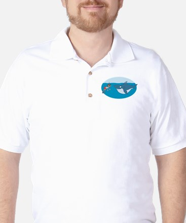 Funny Shark Encounter Golf Shirt