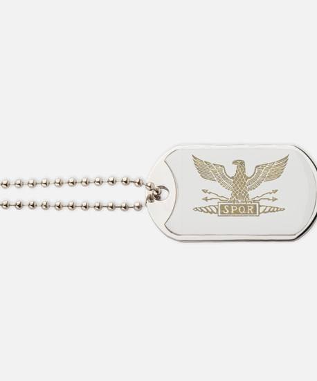 Roman Eagle Distressed Light.png Dog Tags