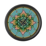 Pink And Green Floral Large Wall Clock