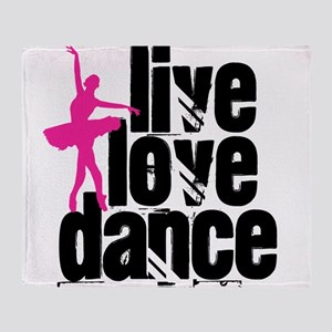Live, Love, Dance with Ballerina Throw Blanket