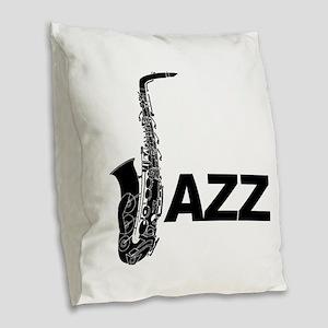 Jazz Sax Burlap Throw Pillow