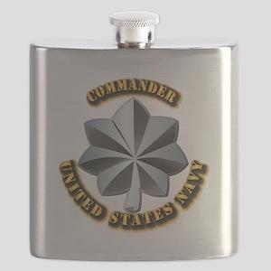 Navy - Commander - O-5 - V1 - w Text Flask