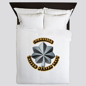 Navy - Commander - O-5 - V1 - w Text Queen Duvet
