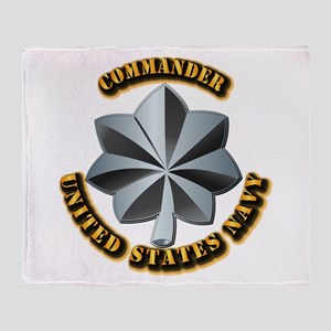 Navy - Commander - O-5 - V1 - w Text Throw Blanket