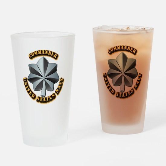 Navy - Commander - O-5 - V1 - w Tex Drinking Glass