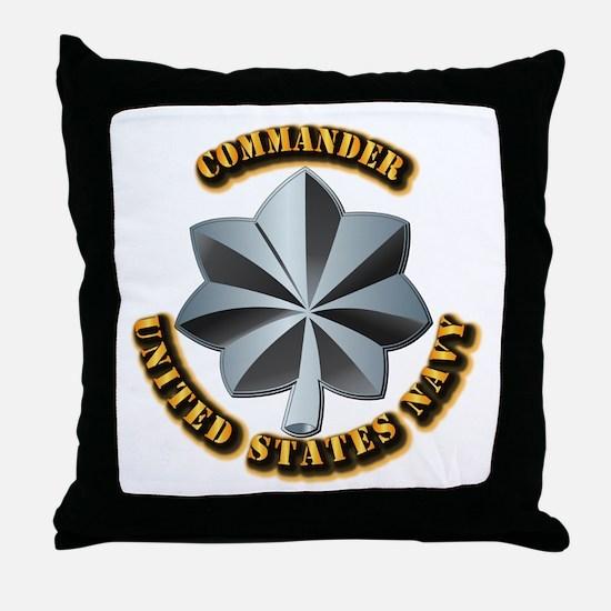 Navy - Commander - O-5 - V1 - w Text Throw Pillow