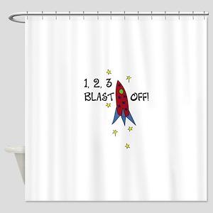 1,2,3 BLASTOFF! Shower Curtain